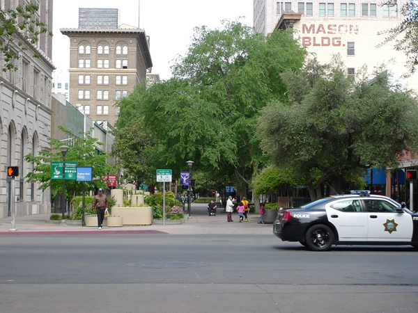 Fulton Mall with Police Cruiser