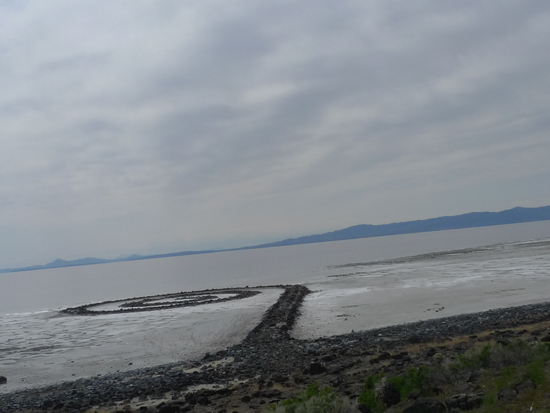Robert Smithson's Spiral Jetty at Rozell Point on the Great Salt Lake, Utah