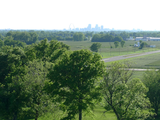 Skyline of St. Louis from Cahokia
