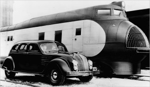 Chrysler Airflow with Harley Earl's Union Pacific M-10000 locomotive