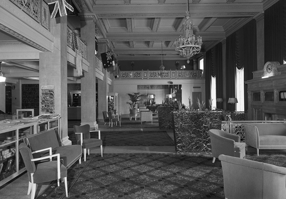 Lapidus renovation of Newark Athletic Club, lobby in 1944