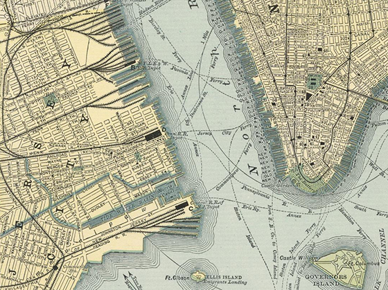1891 Map of New York & Jersey City detail
